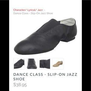 Dance Class Black Leather Slip-on Jazz Shoes NIB